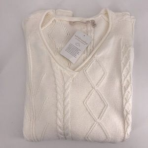 Soft Surroundings Ivory Cable Knit Sweater NWT